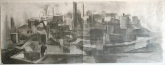 "graphite on mylar, 18""x 48"", 2012"