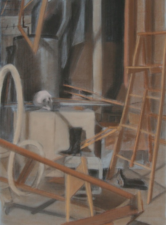 """G-ma's Basement,"" charcoal, conte on paper, 18""x 24"", 2010"