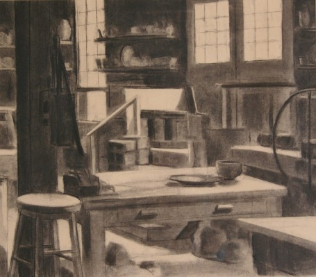 """The Pottery,"" charcoal on paper, 18""x 24"", 2010"