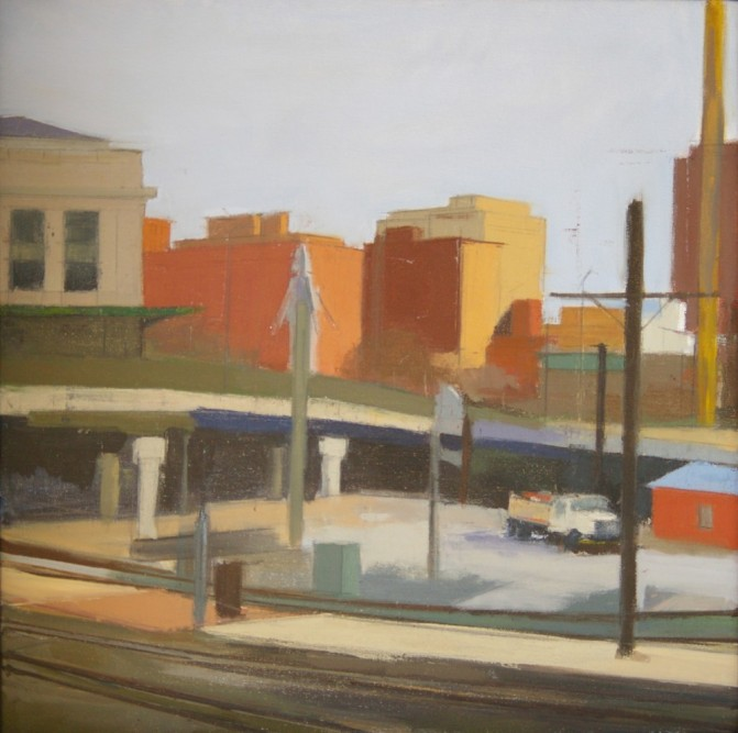 """Station North, Baltimore,"" oil on canvas, 20""x 20"", 2011"