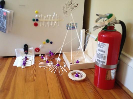 "Amanda Wagstaff, ""For Sarah Sze,"" homage and temporary installation beside the refrigerator, 2014"
