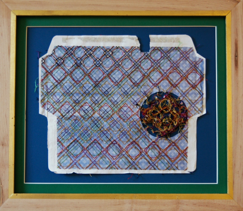 Ptolemy's House, 2015, cotton thread on envelope