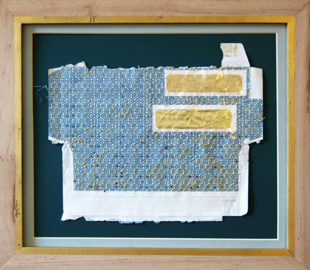 Bee's House, 2015, silk and cotton thread on envelope