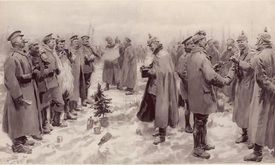 """Illustrated London News - Christmas Truce 1914"" by A. C. Michael - The Guardian [2] / [3]Originally published in The Illustrated London News, January 9, 1915.. Licensed under PD-US via Wikipedia - https://en.wikipedia.org/wiki/File:Illustrated_London_News_-_Christmas_Truce_1914.jpg#/media/File:Illustrated_London_News_-_Christmas_Truce_1914.jpg"
