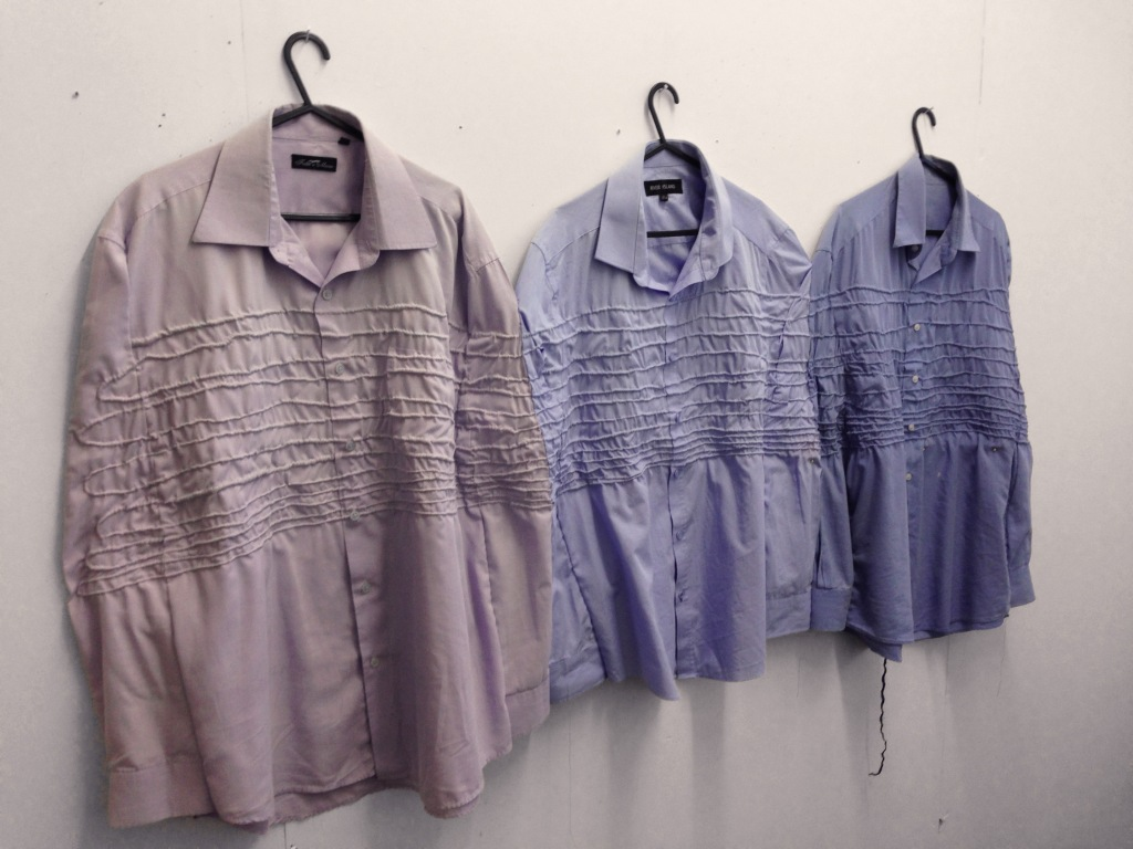 """all flesh is grass,"" 2015-2916, men's shirts, handspan yarn, embroidery thread"