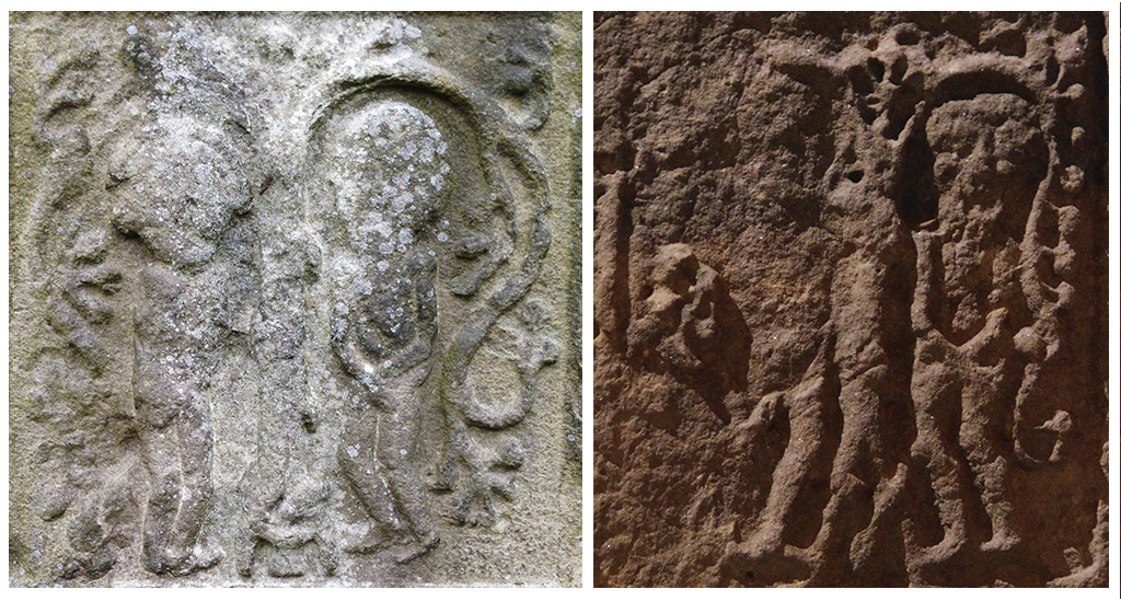 Left: Adam and Eve from standing stone at Kells, Co. Meath, Ireland; Right: Adam and Eve from St. Martin's Cross at the Abbey of Iona, Scotland. © Amanda Wagstaff 2016