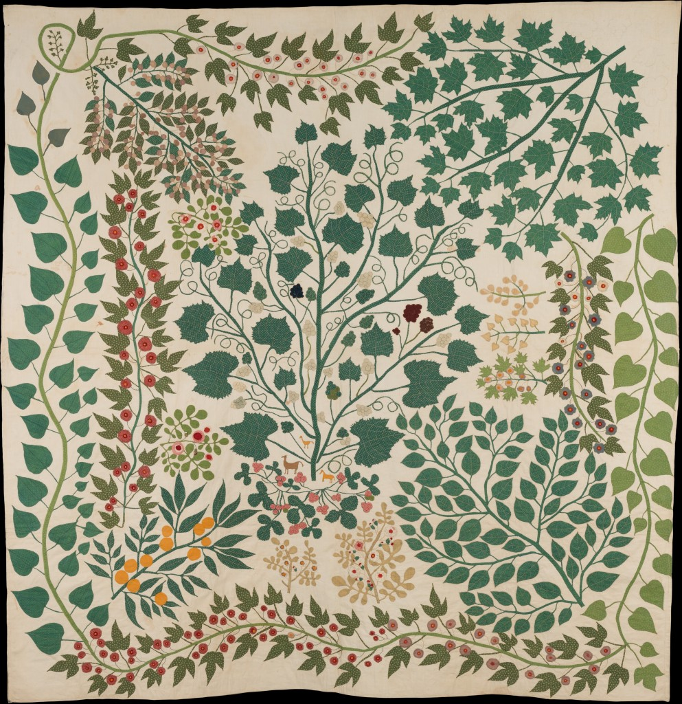 Ernestine Eberhardt Zaumseil (American) Bedcover, ca. 1865 American, Cotton ground appliqued with cotton, silk and wool; 88 × 86 in. (223.5 × 218.4 cm) The Metropolitan Museum of Art, New York, Gift of George E. Schoellkopf, 2013 (2013.958) http://www.metmuseum.org/Collections/search-the-collections/625591